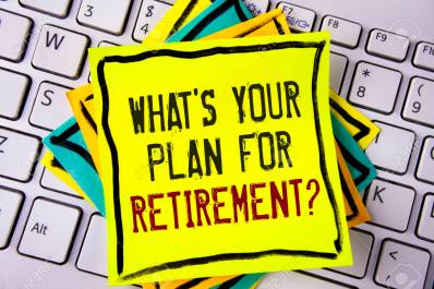 Writing note showing  What IS Your Plan For Retirement Question. Business photo showcasing Thought any plans when you grow old written on Yellow Sticky note paper placed on White Keyboard. Top view.